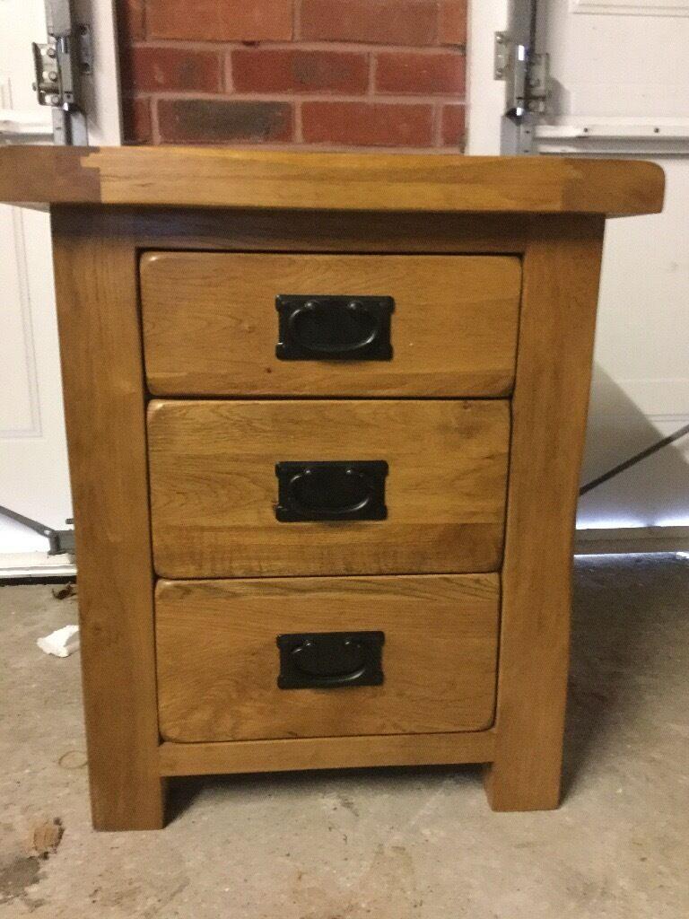 Original Rustic Solid Oak 3 Drawer Bedside Table   Oak Furniture Land