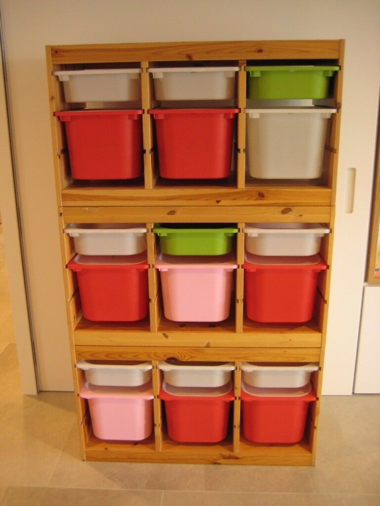 Genial Ikea Trofast Stacking Toy Storage With Multi Colour Drawers Boxes And Lids  X3