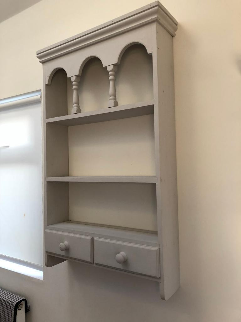 Painted Farrow U0026 Ball Light Grey Kitchen Shelf Unit