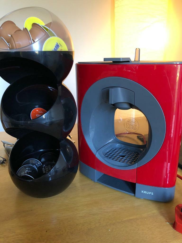 RED Krups Nescafe Dolce Gusto Oblo Coffee Machine With Coffee Pods And Pod  Storage Unit