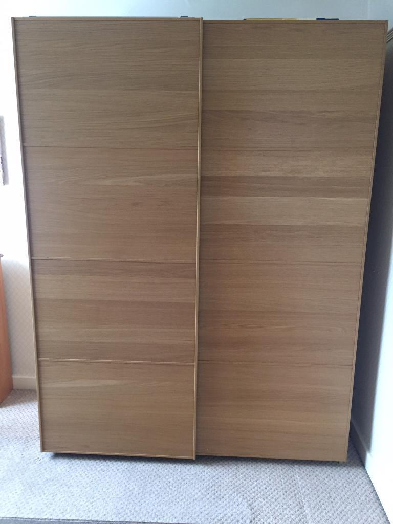 Beau PAX Malm Wardrobe, IKEA, Oak Effect With Sliding Doors, As New