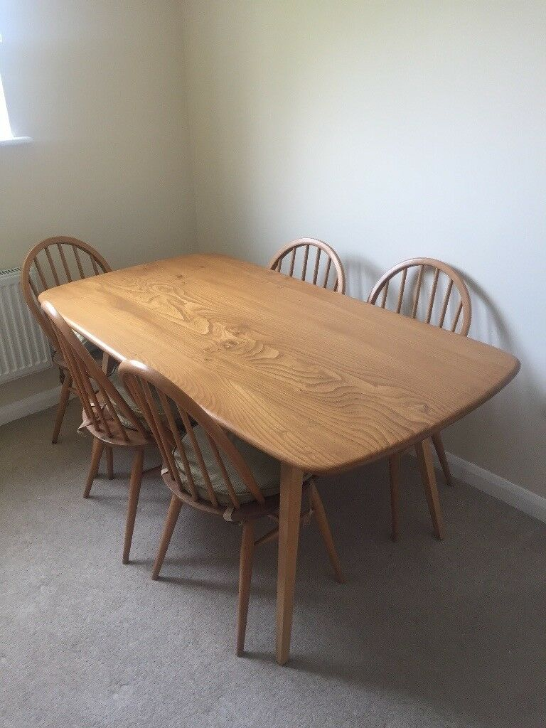 Ercol Vintage U002760s Windsor Solid Elm Blonde Dining Table And Five Windsor  Dining Chairs In