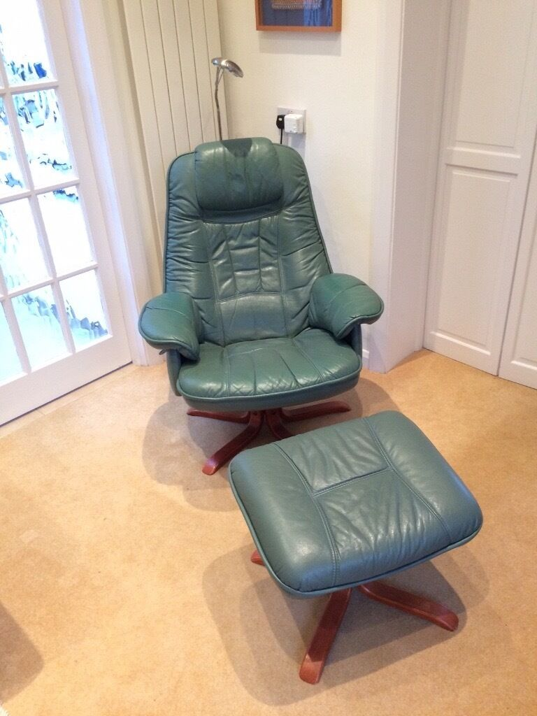 Beau Reclining Chair On Swivel Base In Green/ Blue Quality Leather Plus Matching  Stool, Swedish