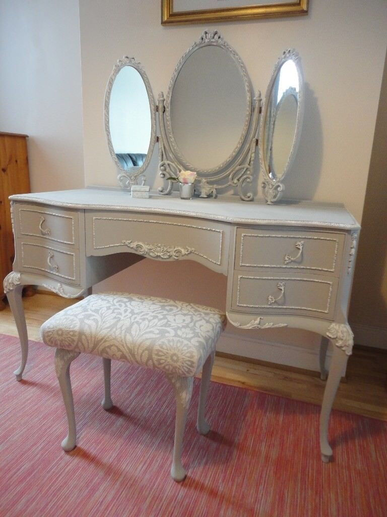 Superb French Louis Style Dressing Table With 3 Way Mirror And Stool