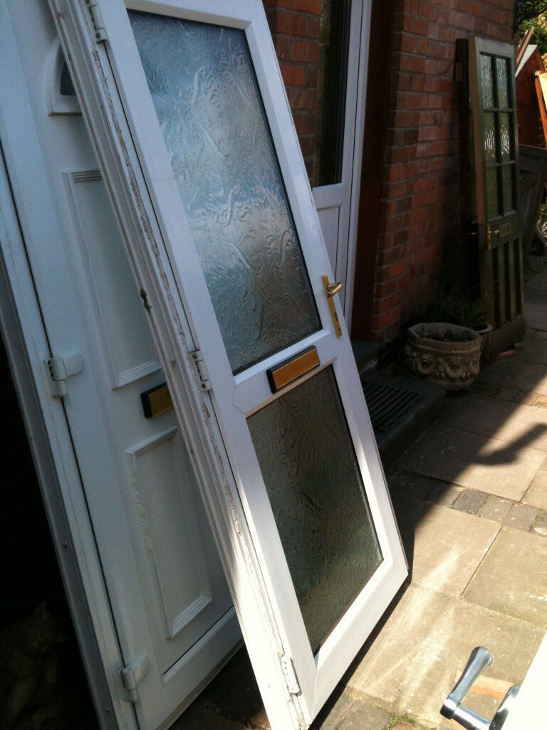 Exterior Upvc Door With 2 Double Glazed Frosted Panels And Frame