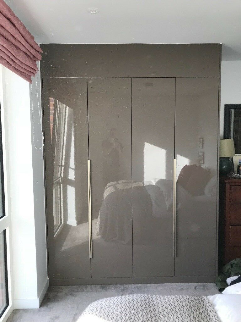 Moores Bedroom Fitted Wardrobe Dark Grey Gloss, Modern Look, Only Five  Months Old And