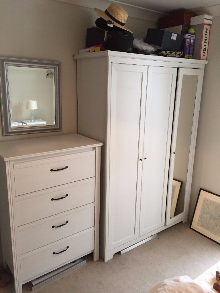 Matching White Bedroom Furniture Set   1 X Wardrobe, 1 X Chest Of Drawers, Part 43