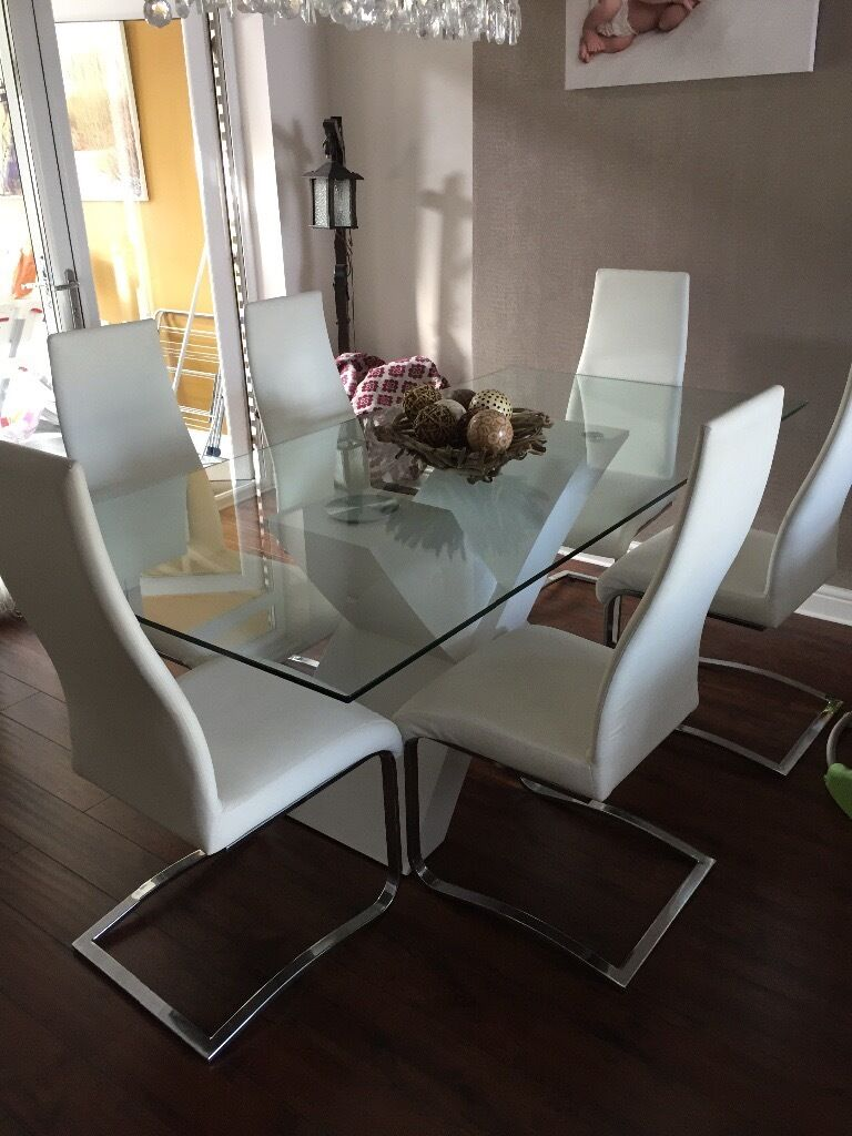 Barker U0026 Stonehouse White Gloss Dining Table, Glass Top With 6 Leather  Chairs Part 91