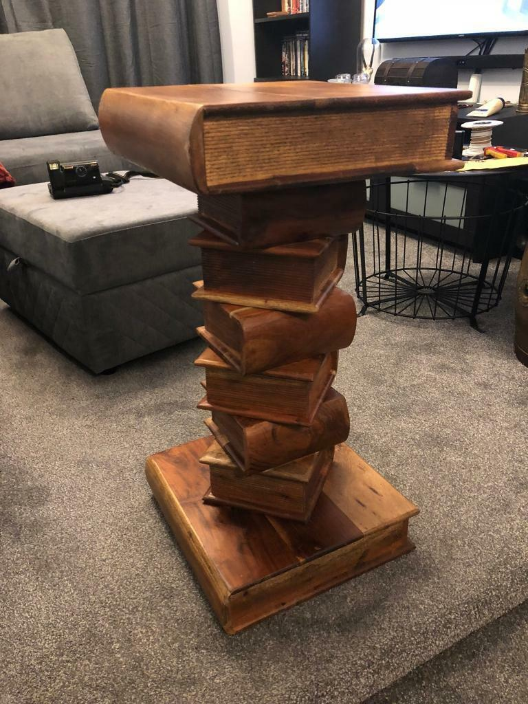 Beau Wooden Stack Of Books Table Quirky Different Side Table