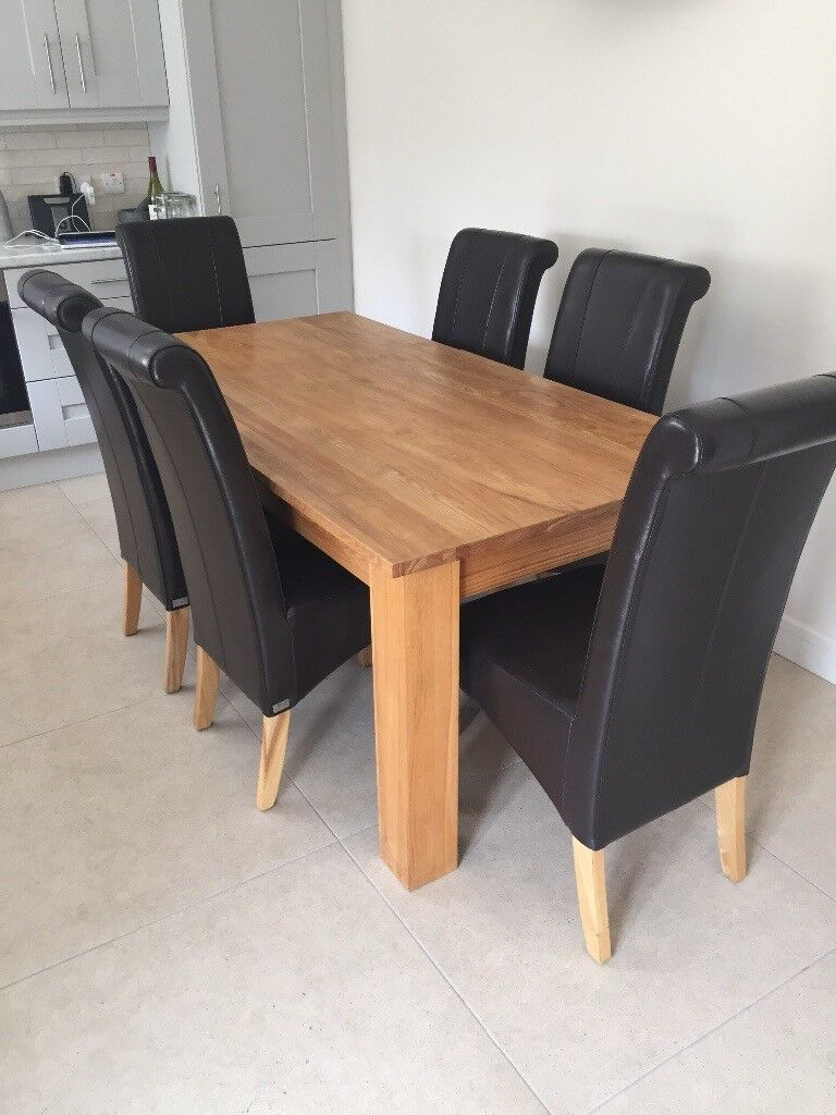 Solid Oak Dining Table U0026 6 Chairs.