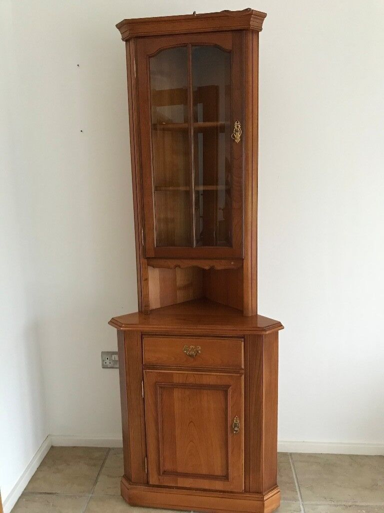 YOUNGER DINING ROOM CORNER UNIT DISPLAY CABINET CHERRY GLASS PANELED DOOR  AND CUPBOARD SCANDANAVIAN