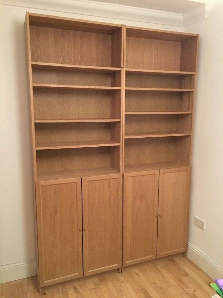 IKEA Billy Bookcases In Oak With Height Extension Units And Cupboard Doors