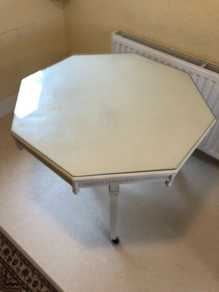 White Hexagonal Shabby Chic Dining Table. Collection Only. Image 1 Of 3