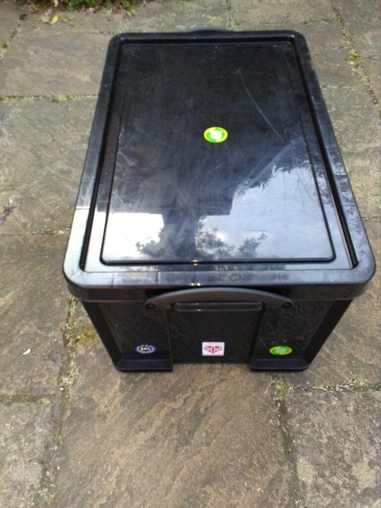 STORAGE BOX REALLY USEFUL BRAND BLACK 84 LITRE STRONG PLASTIC GOOD QUALITY & STORAGE BOX REALLY USEFUL BRAND BLACK 84 LITRE STRONG PLASTIC GOOD ...