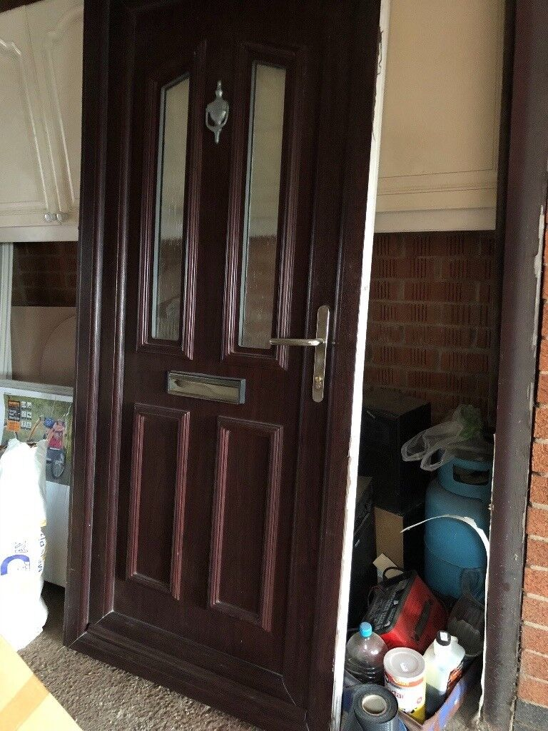 Upvc Door Rosewood Exterior White Interior