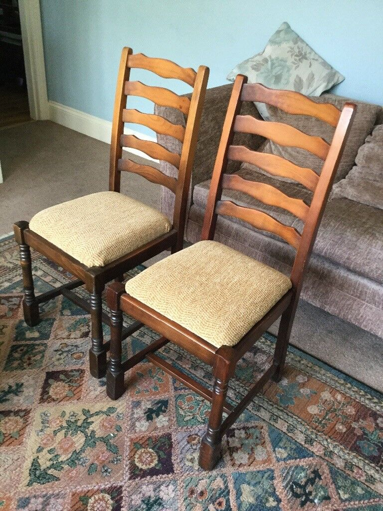 Pair Vintage Oak Ladder Back Dining Room Chairs
