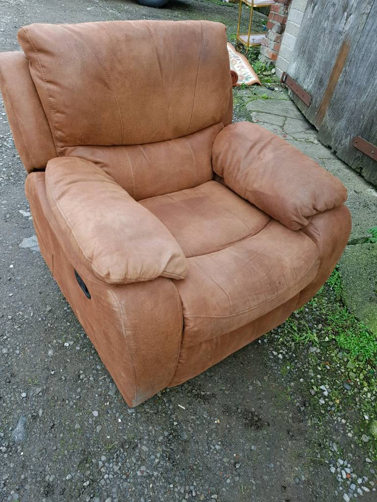 Brown Suede Leather Recliner Chair