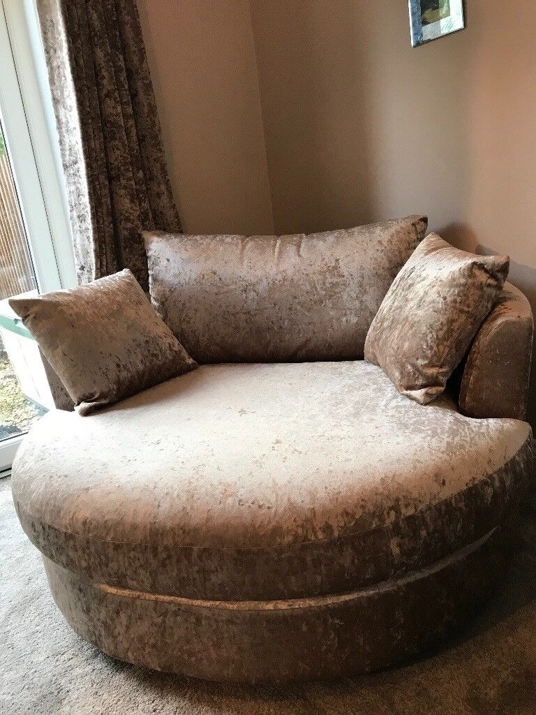 NEXT Swivel Cuddle Chair In Light Mink Crushed Velvet