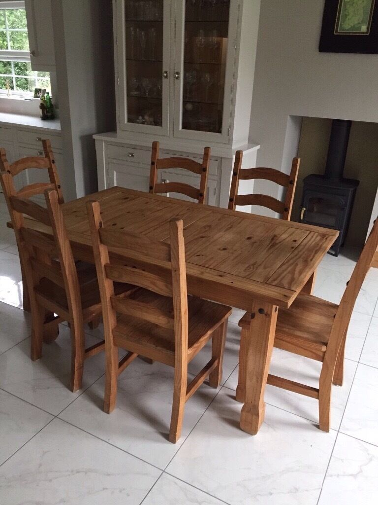 Awesome Dining Table And 6 Chairs With Matching Dresser Mexican Pine.