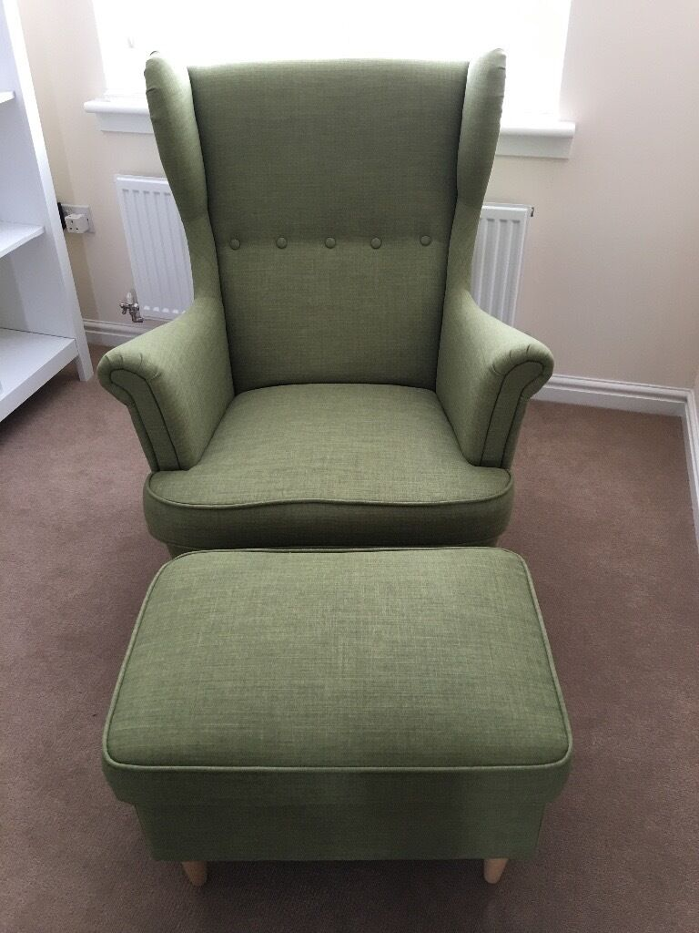 New Ikea Strandmon Wing Armchair Green With Stool NEW!