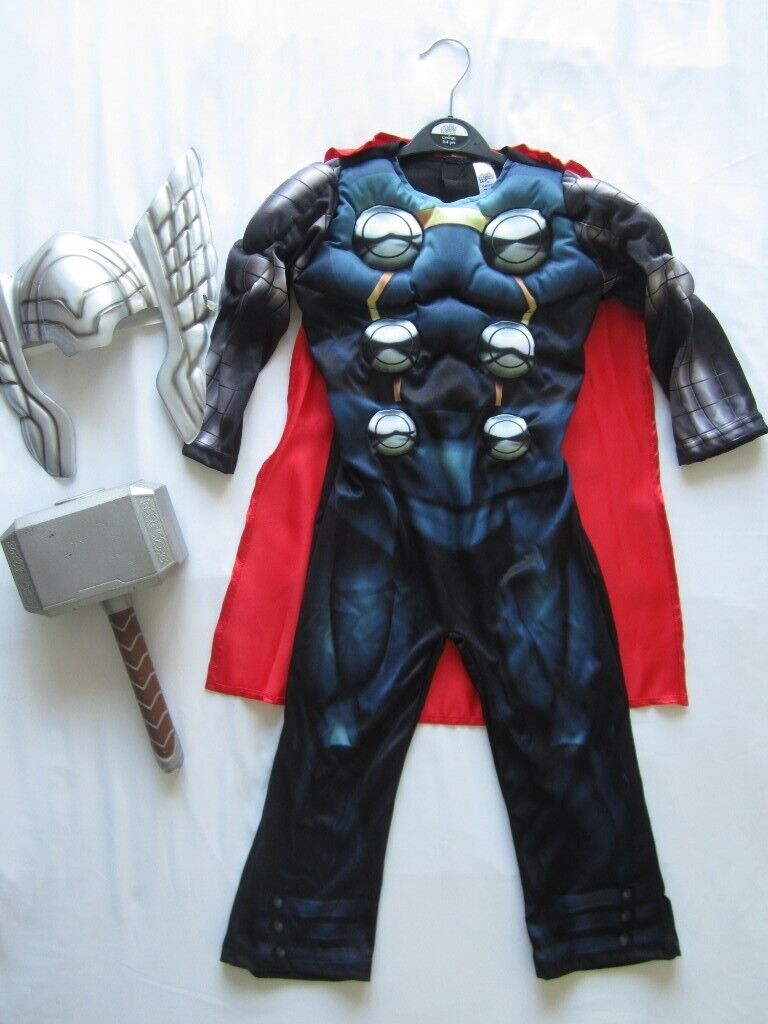 Marvel Avengers Thor Fancy Dress / Dressing Up Costume Age 3 4 With Toy  Battle Hammer