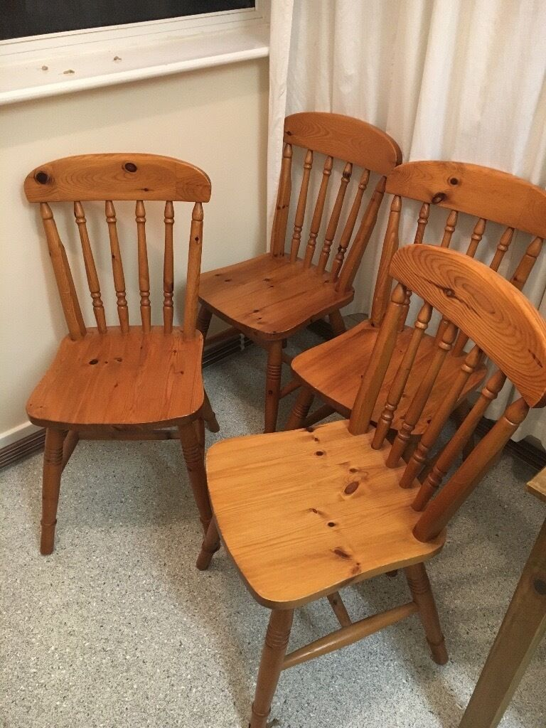 Good X 4 Wooden Sturdy Dining Room Chairs