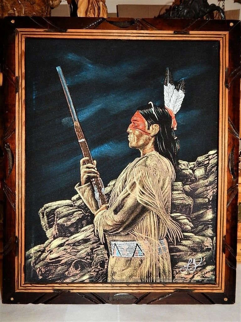 Vintage Velvet Painting Native American Indian Apache Mexico