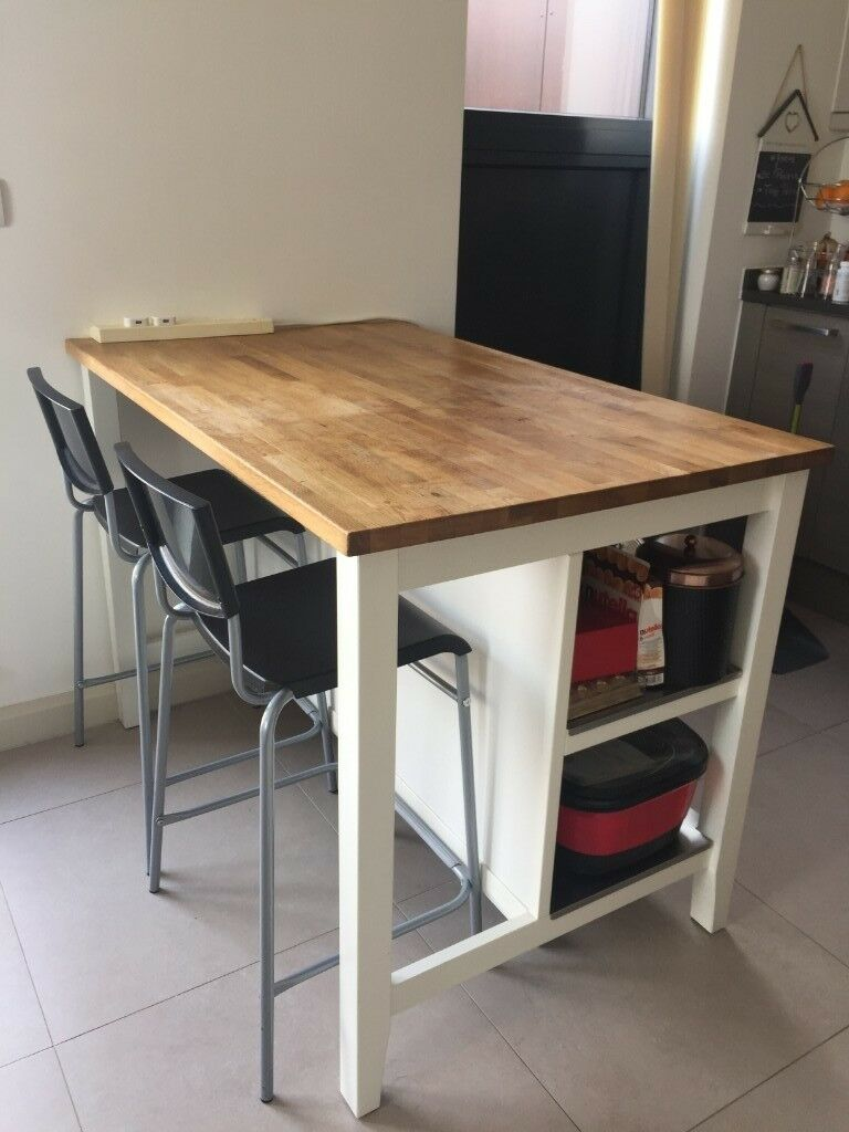 Merveilleux IKEA Kitchen Island/Table With 2 High Chairs