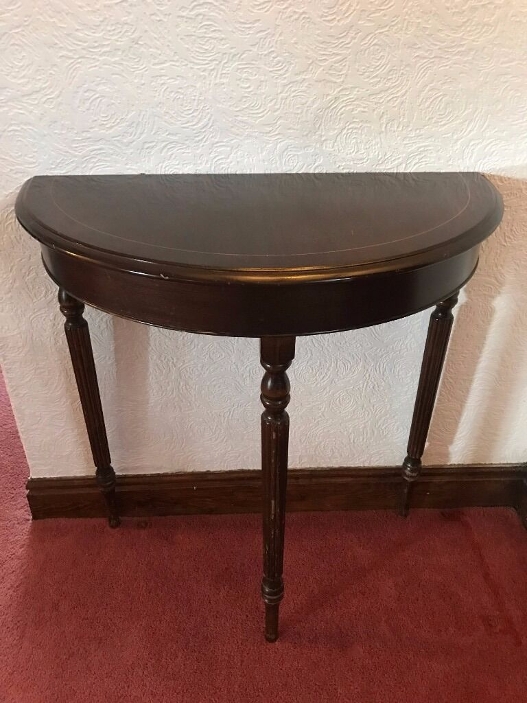 Solid Mahogany Semi Circular Hall Table. Antique.