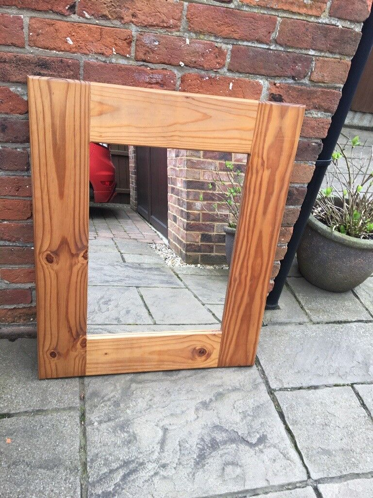 Mirror with wood surround width 70cm/28u201d x length 86cm/33.5u201d & Mirror with wood surround width 70cm/28u201d x length 86cm/33.5u201d | in ...
