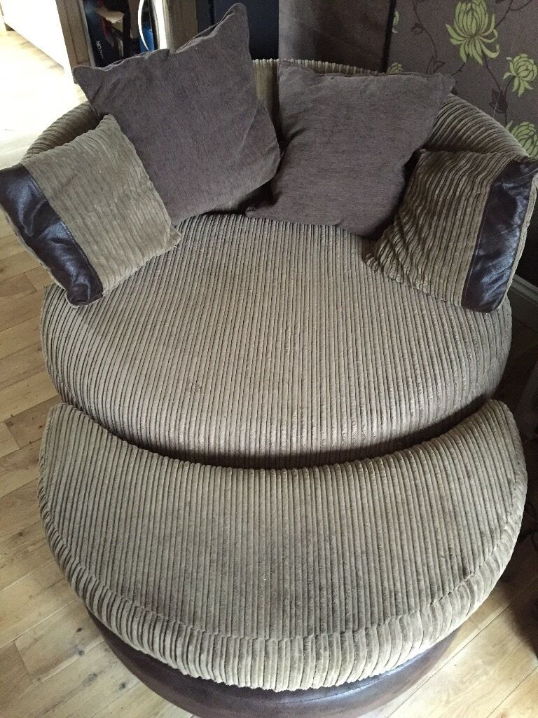 DFS Sofa, Couples Swivel Chair, Storage Footstool And Half Moon Foot Stool