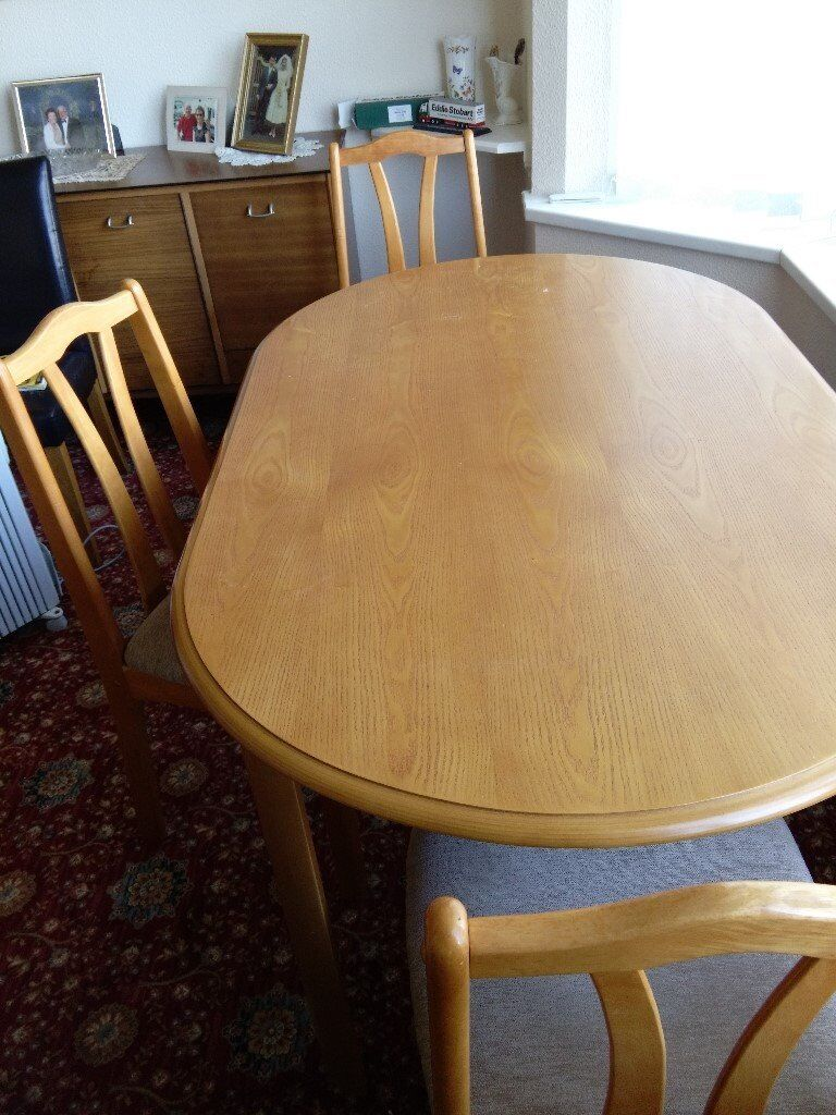 dining table with four chairs used needs a little repair