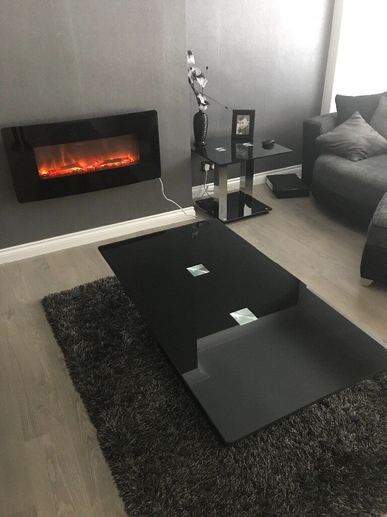 Black Glass Living Room Furniture. Image 1 Of 5