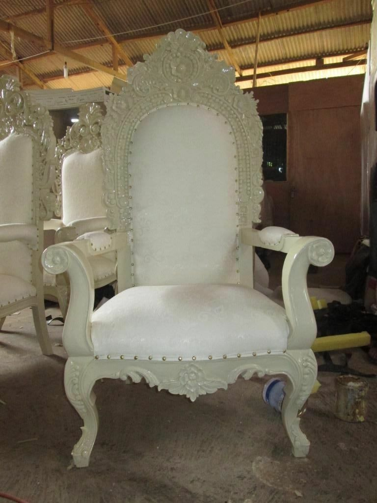 2x NEW King Queen Throne Chairs   Ivory White   Asian Wedding Furniture  Ornate Antique Hotel