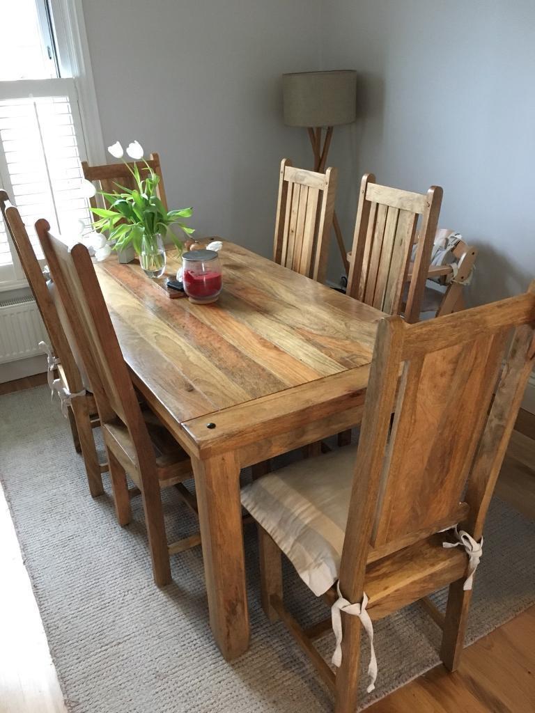 Baku Solid Mango Wood Chairs From Oak Furniture Land X 6