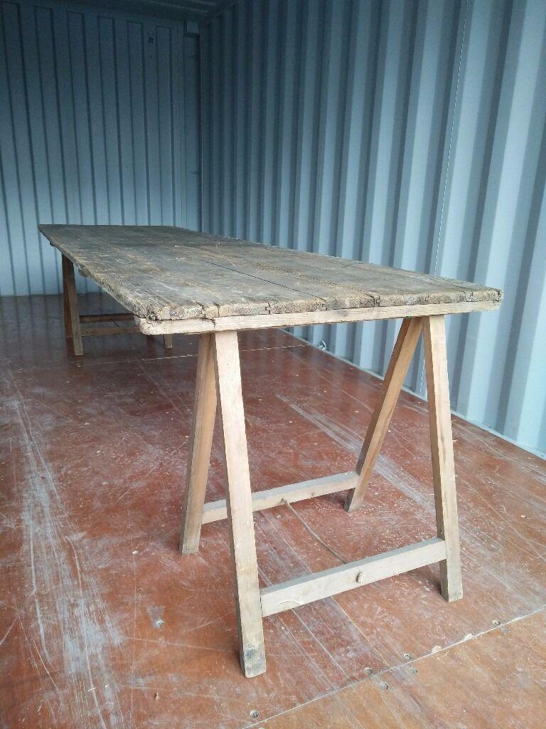 Large Vintage Trestle Tables   £60 Each   5 Available Part 45