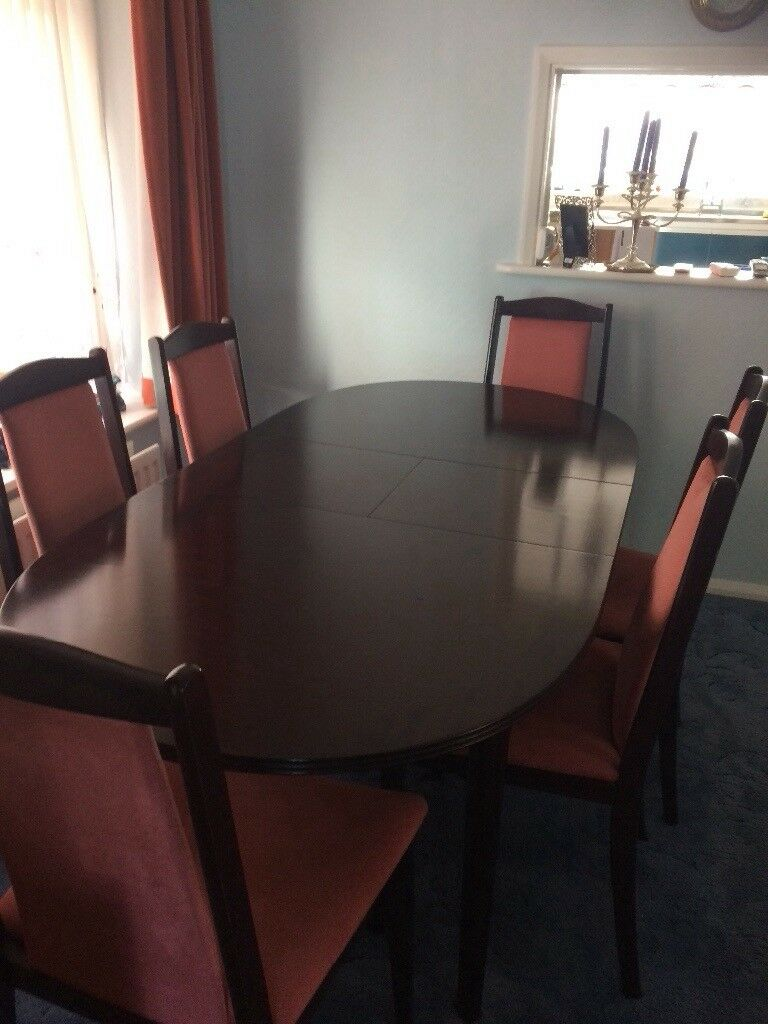 Extendable Mahogany Dining Table And 6 Chairs