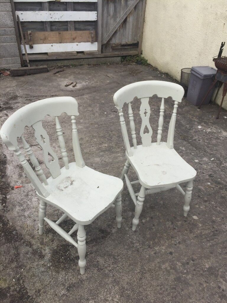 Pair Of Wooden Farmhouse Chairs Painted White