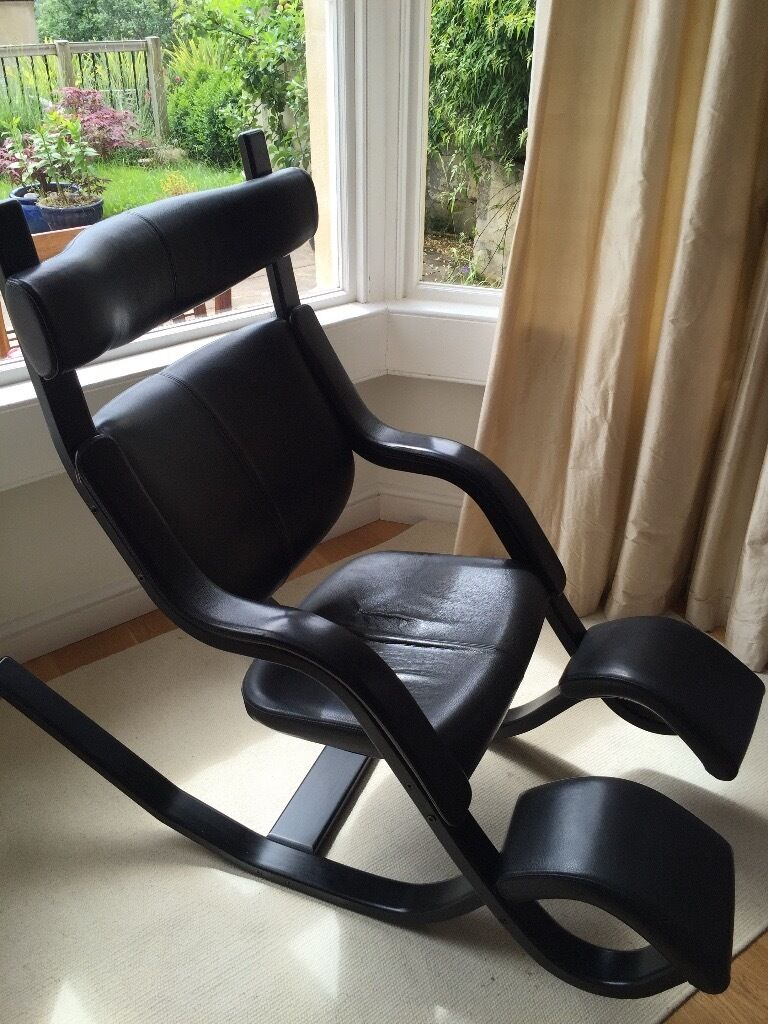 Varier Gravity Balans Chair In Black Ash And Black Leather In Bath