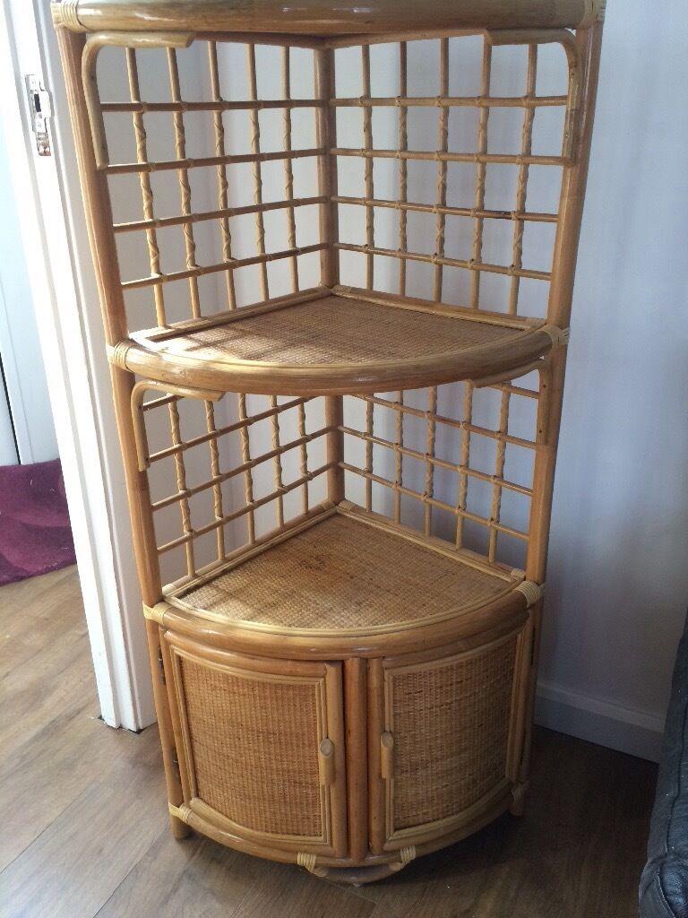 £10 Wicker Rattan Bamboo Corner Cabinet Shelf Cupboard