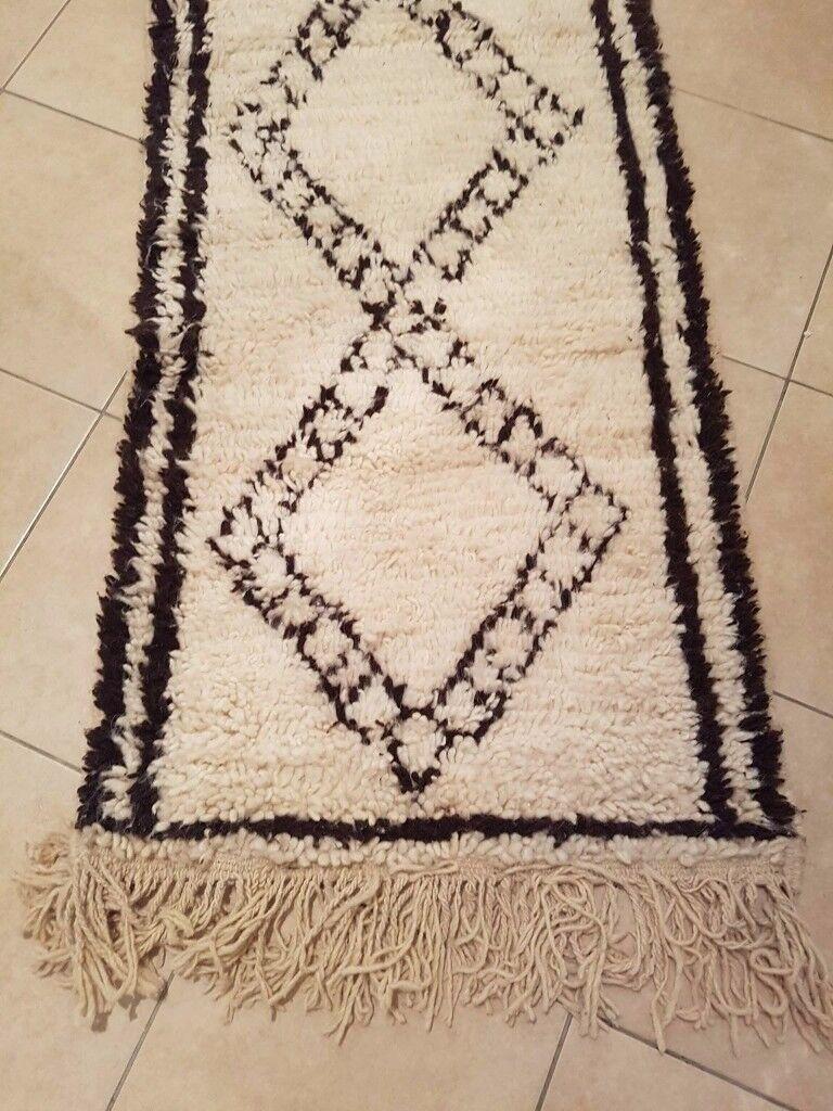 real beni ourain 100 wool woollen handira berber runner rug handwoven moroccan