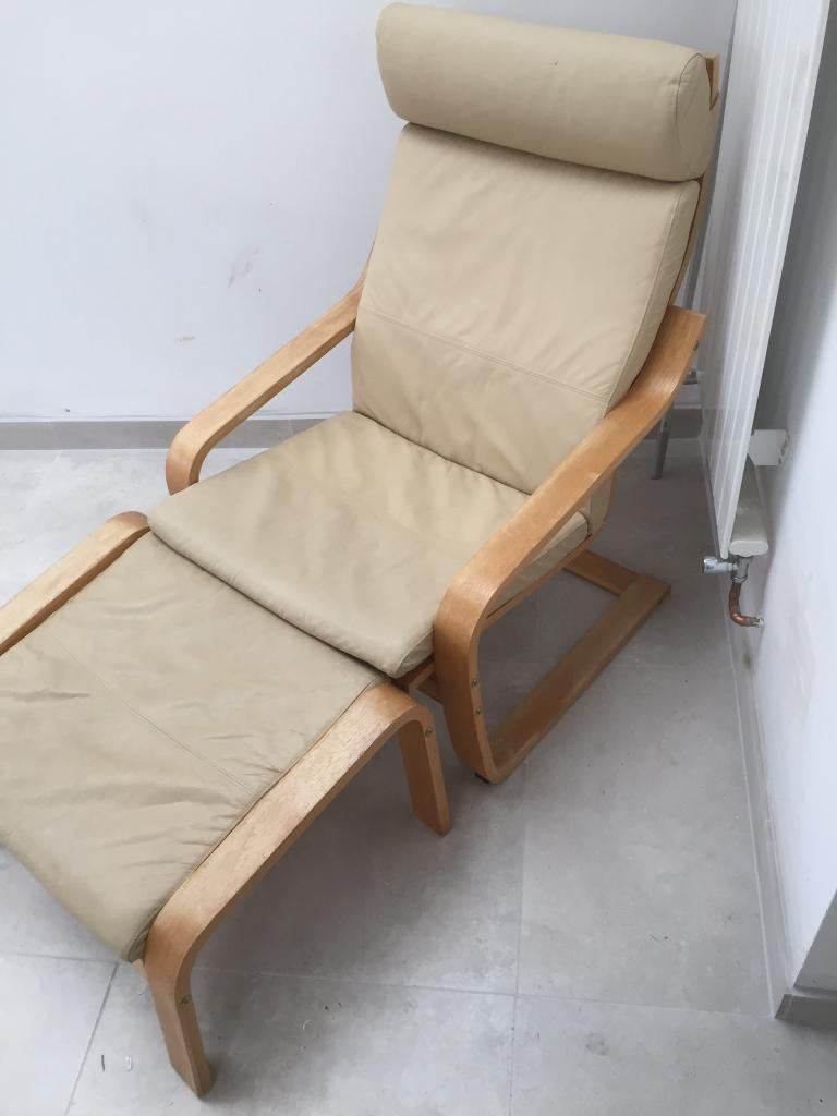 Ikea Poang Leather Recliner Chair And Leg Rest. Good Condition.
