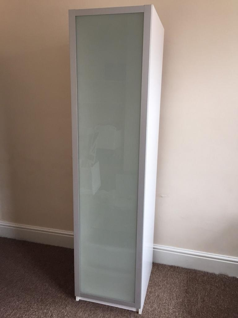 IKEA PAX Single White Wardrobe / Cabinet With Drammen Frosted Glass Door.