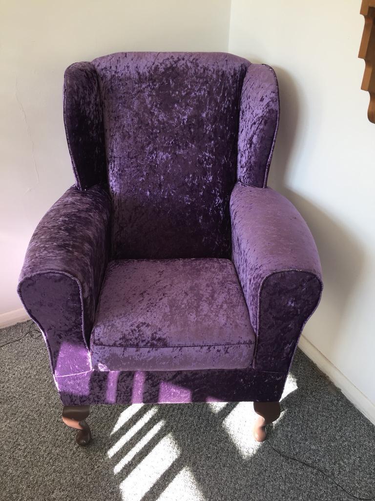 Purple Velvet Armchair   Reduced