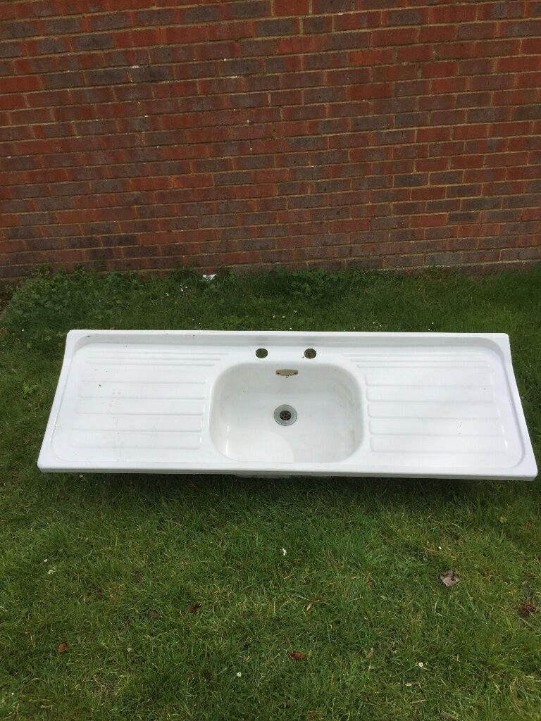 Vintage Leisure 1940s 50s Double Drainer White Enamel Sink