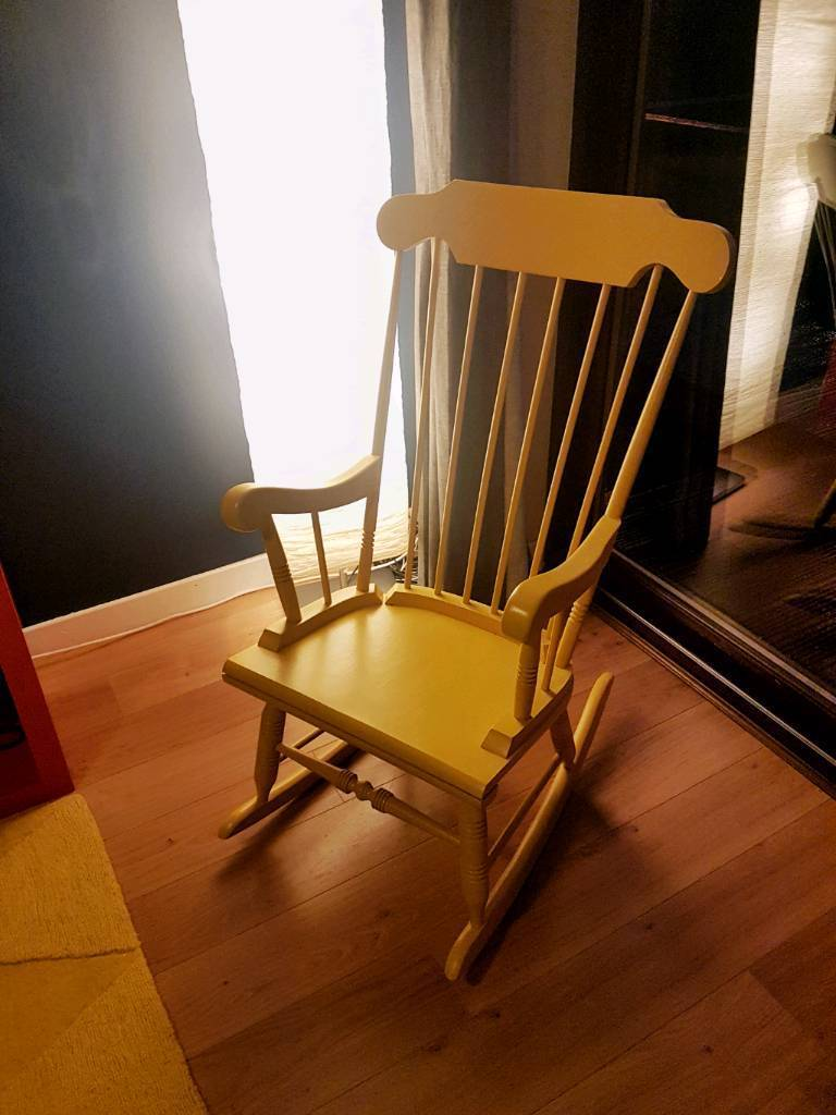 Yellow Painted Wooden Rocking Chair/ Nursing/ Nursery Chair