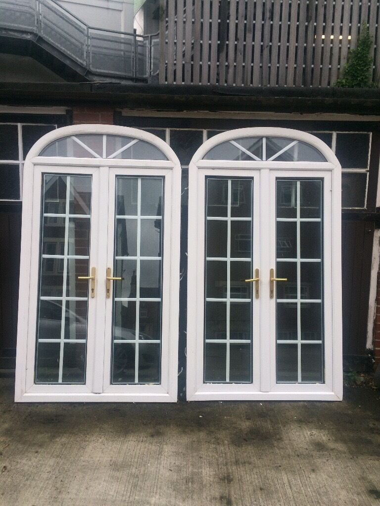 Used Upvc French Doors Sale Part - 23: Used 2 X UPVC Georgian Style French Double Glazed Arched Doors