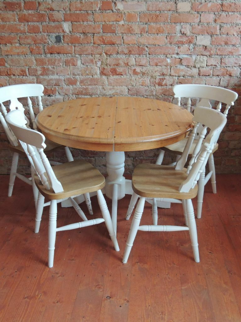 Shabby Chic Dining Set Table + 4 Chairs (Delivery)