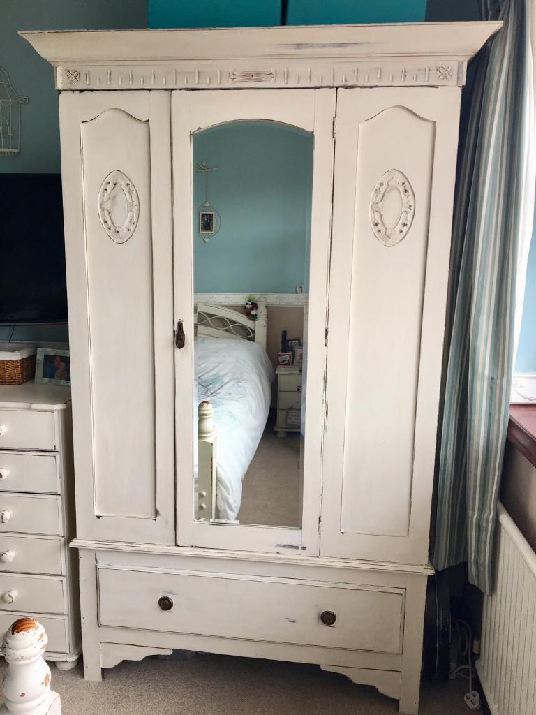 Gorgeous Edwardian Shabby Chic Style Vintage Mirrored Wardrobe Stunning!