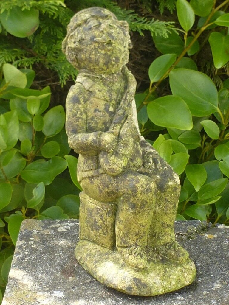 SOLD STC Unusual Vintage Cast Stone Saxophone Player Garden Statue Garden  Ornament 27cm
